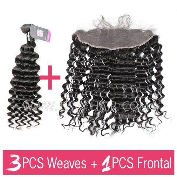 Superior Grade mix 3 bundles with 13*4 lace frontal closoure Mongolian Deep Wave Virgin Human Hair Extensions