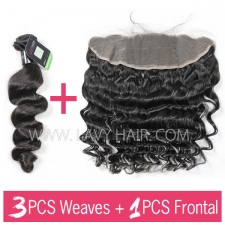 Regular Grade mix 3 bundles with 13*4 lace frontal closure Brazilian Loose wave Virgin Human hair extensions