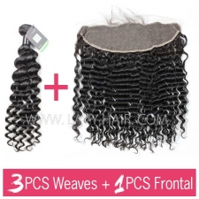 Regular Grade mix 3 bundles with 13*4 lace frontal closure Brazilian Deep Wave Virgin Human hair extensions