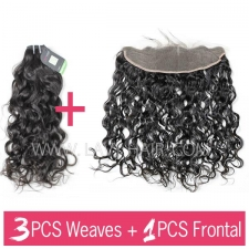 Regular Grade mix 3 bundles with 13*4 lace frontal closure Brazilian Natural Wave Virgin Human hair extensions