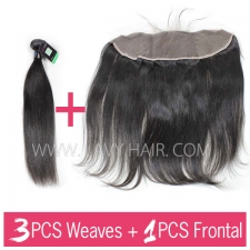 Regular Grade mix 3 bundles with 13*4 lace frontal closure Peruvian Straight Virgin Human hair extensions