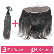 Regular Grade mix 3 bundles with 13*4 lace frontal closure Malaysian Straight Virgin Human hair extensions