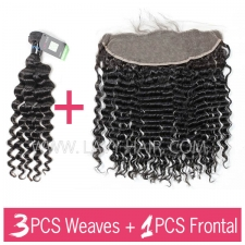 Regular Grade mix 3 bundles with 13*4 lace frontal closure Peruvian Deep Wave Virgin Human hair extensions