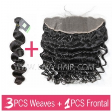 Regular Grade mix 3 bundles with 13*4 lace frontal closure European Loose wave Virgin Human hair extensions
