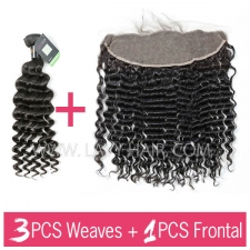 Regular Grade mix 3 bundles with 13*4 lace frontal closure Burmese Deep Wave Virgin Human hair extensions