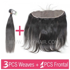 Regular Grade mix 3 bundles with 13*4 lace frontal closure Indian Straight Virgin Human hair extensions