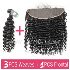 Regular Grade mix 3 bundles with 13*4 lace frontal closure Indian Deep Wave Virgin Human hair extensions