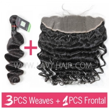 Regular Grade mix 3 bundles with 13*4 lace frontal closure Cambodian Loose wave Virgin Human hair extensions