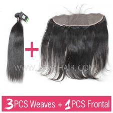 Regular Grade mix 3 bundles with 13*4 lace frontal closure Cambodian Straight Virgin Human hair extensions