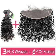 Regular Grade mix 3 bundles with 13*4 lace frontal closure Cambodian Deep Curly Virgin Human hair extensions