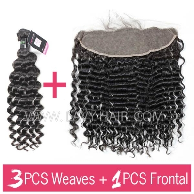 Superior Grade mix 3 bundles with 13*4 lace frontal closoure Brazilian Deep Wave Virgin Human Hair Extensions