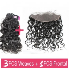 Superior Grade mix 3 bundles with 13*4 lace frontal closoure Brazilian Natural Wave Virgin Human Hair Extensions