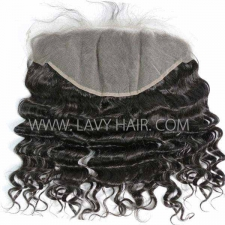 Ear to Ear 13*6 Lace Frontal Closure Loose Wave Human hair medium brown Swiss lace