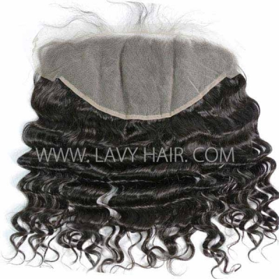 #1B Color Ear to Ear 13*6 Lace Frontal Loose Wave Human hair Swiss lace