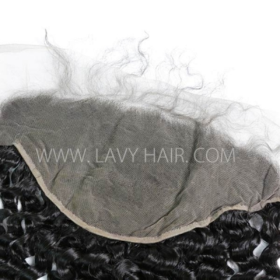 #1B Color Ear to Ear 13*6 Lace Frontal Deep Wave Human hair Swiss lace