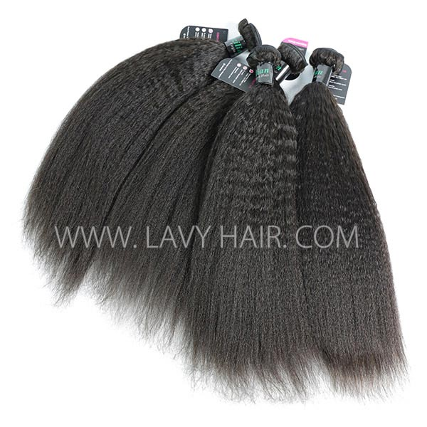 Superior Grade mix 4 bundles with lace closure Brazilian Kinky Straight Virgin Human hair extensions