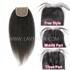 "Lace top closure 4*4"" Kinky Straight Human hair medium brown Swiss lace"