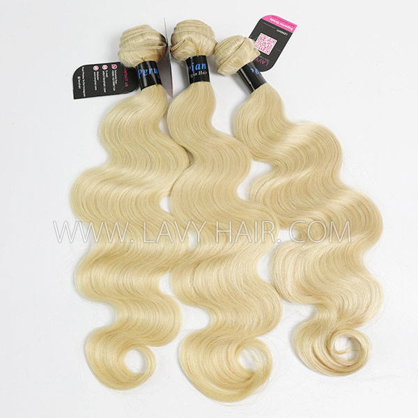 #613 Superior Grade mix 3 bundles with lace closure Peruvian Body wave Virgin Human hair extensions