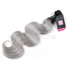 Superior Grade 1 bundle Brazilian Body Wave Ombre Silver Gray Human hair extensions