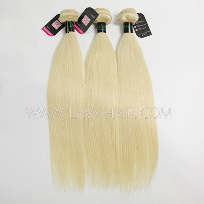 #613 Superior Grade mix 3 bundles with lace closure Brazilian Straight Virgin Human hair extensions