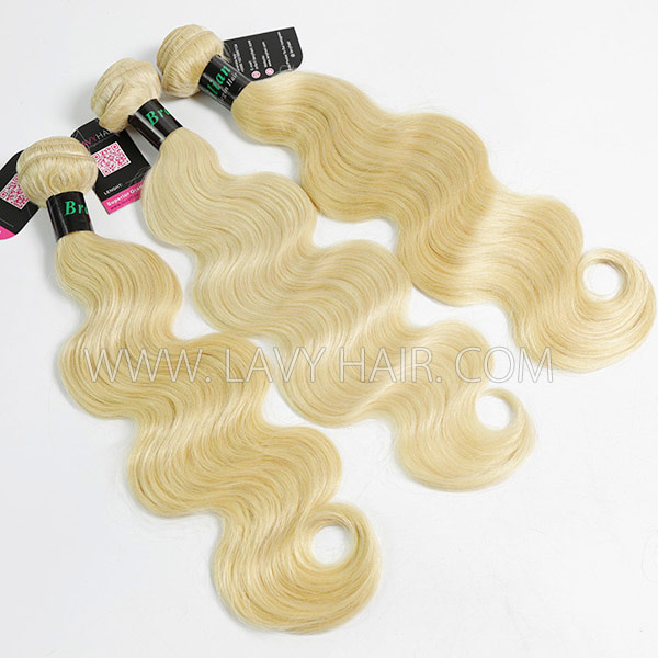 #613 Superior Grade mix 3 bundles with lace closure Brazilian Body wave Virgin Human hair extensions