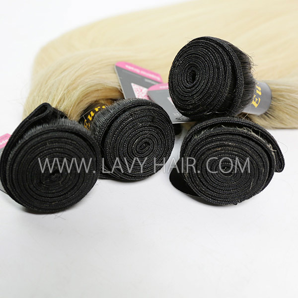 #1B/613 Superior Grade mix 3 or 4 bundles European Straight Virgin Human Hair Extensions