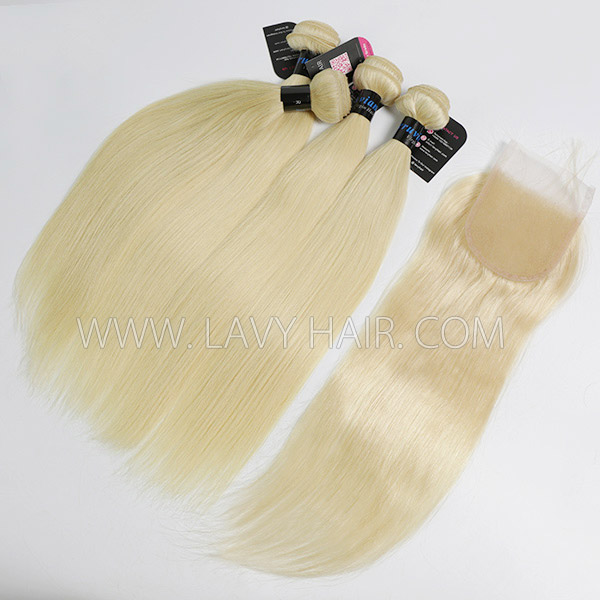 #613 Superior Grade mix 4 bundles with lace closure Peruvian Straight Virgin Human hair extensions