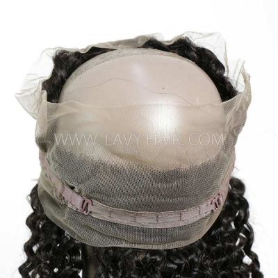 #1B Color 360 Lace Frontal Deep Curly Human hair Swiss lace