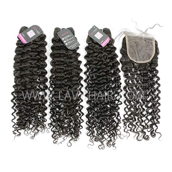 Superior Grade mix 4 bundles with lace closure Malaysian Italian Curly Virgin Human hair extensions