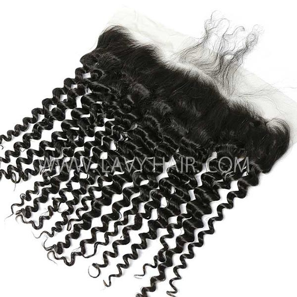 #1B Color Ear to ear 13*4 Lace Frontal Italian Curly Human hair Swiss lace