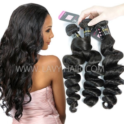 Superior Grade mix 3 or 4 bundles European loose wave Virgin Human hair extensions