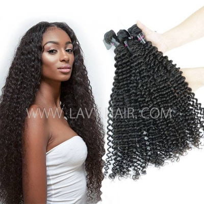 Superior Grade mix 3 or 4 bundles Malaysian deep curly Virgin Human Hair Extensions