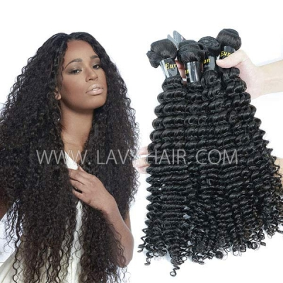 Superior Grade mix 3 or 4 bundles European deep curly Virgin Human Hair Extensions