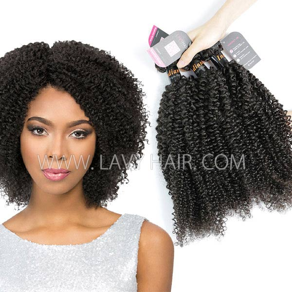 Superior Grade mix 3 or 4 bundles Indian Kinky Curly Virgin Human hair extensions