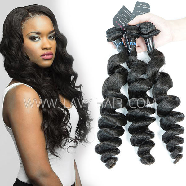 Superior Grade mix 3 or 4 bundles Peruvian Loose Wave Virgin Human Hair Extensions