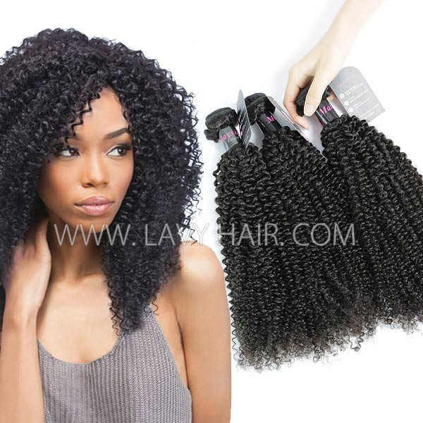 Superior Grade mix 3 or 4 bundles Malaysian Kinky Curly Virgin Human hair extensions