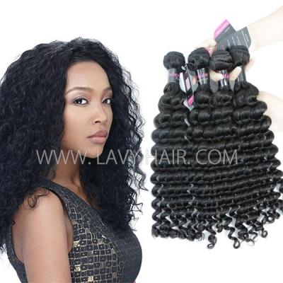 Superior Grade mix 3 or 4 bundles Malaysian deep wave Virgin Human Hair Extensions