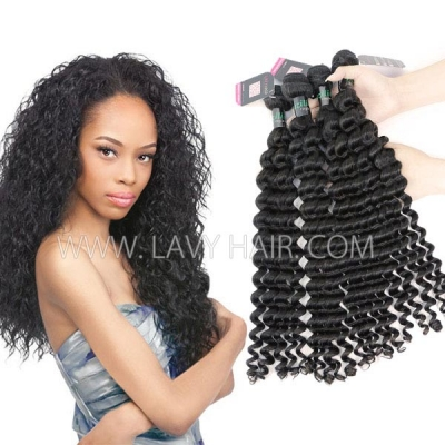 Superior Grade 3/4 bundles Deep wave Virgin Human Hair Extensions Brazilian Peruvian Malaysian Indian European Cambodian Burmese Mongolian