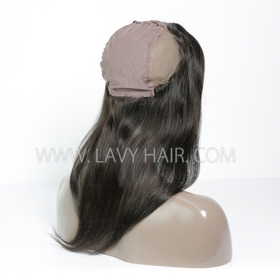 #1B Color 13*4 Lace Frontal comes with cap Straight Human hair Swiss lace