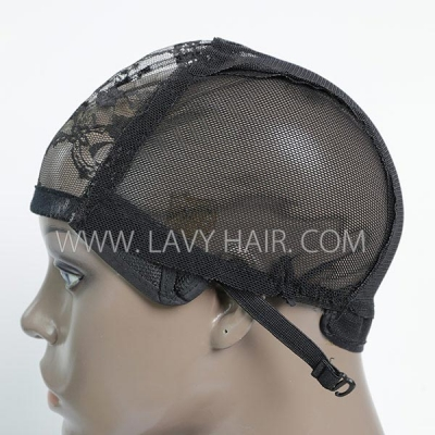 M size wig caps come with adjustable straps, black color