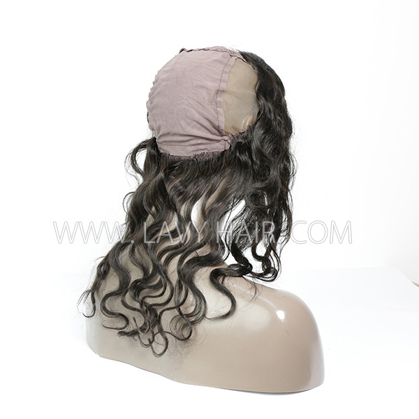 #1B Color 13*4 Lace Frontal comes with cap Body Wave Human hair Swiss lace