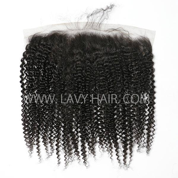 Ear to ear 13*4 Lace Frontal kinky Curly Human hair medium brown Swiss lace