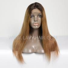 100% Human hair Ombre lace front wig straight hair 1B/30 color