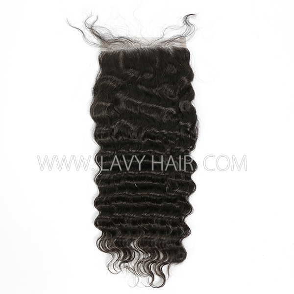 "Lace top closure 5*5"" deep wave Human hair medium brown Swiss lace"