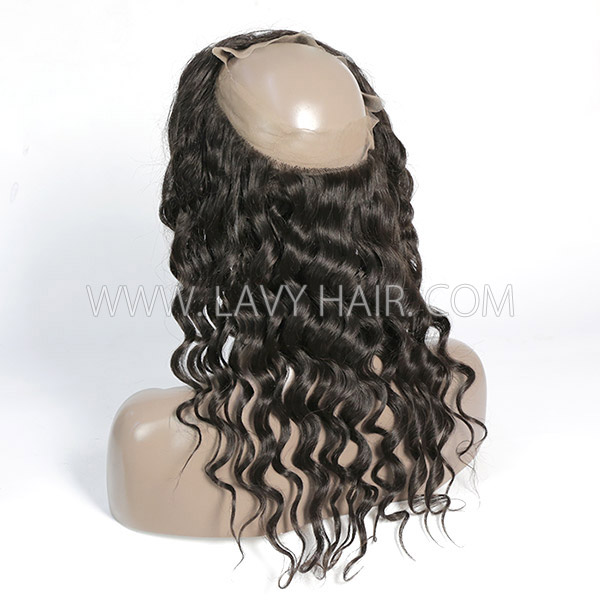 #1B Color 360 Lace Frontal Loose Wave Human hair Swiss lace
