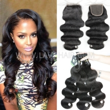 Regular Grade mix 3 bundles with lace closure European Body Wave Virgin Human hair extensions
