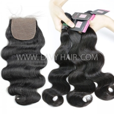 "Superior Grade mix 3 bundles with silk base closure 4*4"" Brazilian Body wave Virgin Human hair extensions"