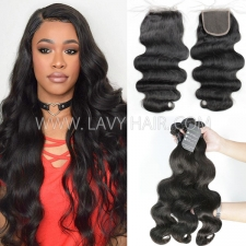 Regular Grade mix 3 bundles with lace closure Indian Body wave Virgin Human hair extensions