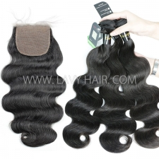 "Regular Grade mix 3 bundles with silk base closure 4*4"" European Body Wave Virgin Human hair extensions"