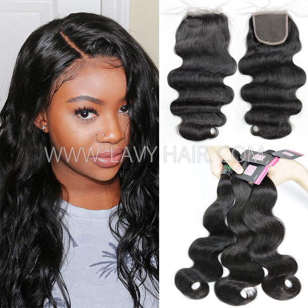 Brazilian body wave three bundles hair with 4*4 lace closure deal